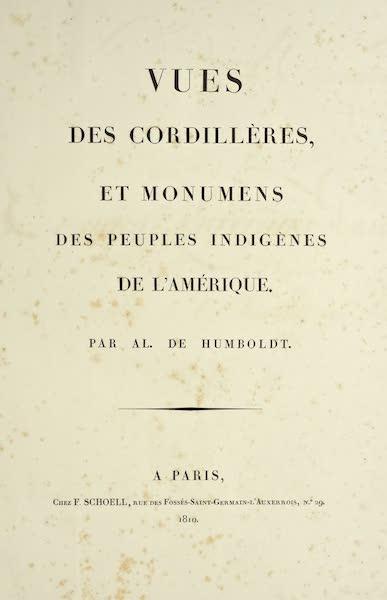 Vues des Cordilleres et Monumens de l'Amerique - Title Page (1813)