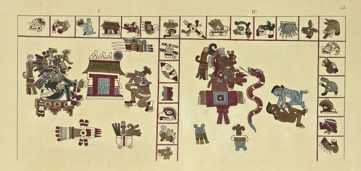 Vues des Cordilleres et Monumens de l'Amerique - Manuscrit hieroglyphique azteque, conserve a la bibliotheque du Vatican (1813)