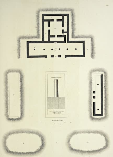 Vues des Cordilleres et Monumens de l'Amerique - Ruines de Miguitlan ou Mitla dans la province d'Oaxaca; plan et elevation [I] (1813)