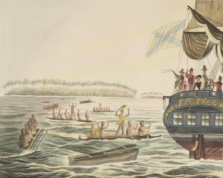 Vues et Paysages des Regions Equinoxiales - Entrevue avec les habitans des Iles Penrhyn (1826)