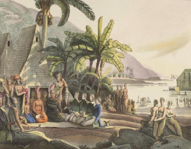 Vues et Paysages des Regions Equinoxiales - Entrevue de l'Expedition de Mr. Kotzebue, avec le Roi Tammeamea, dans l'ile d'Ovayhi (Iles Sandwich) (1826)