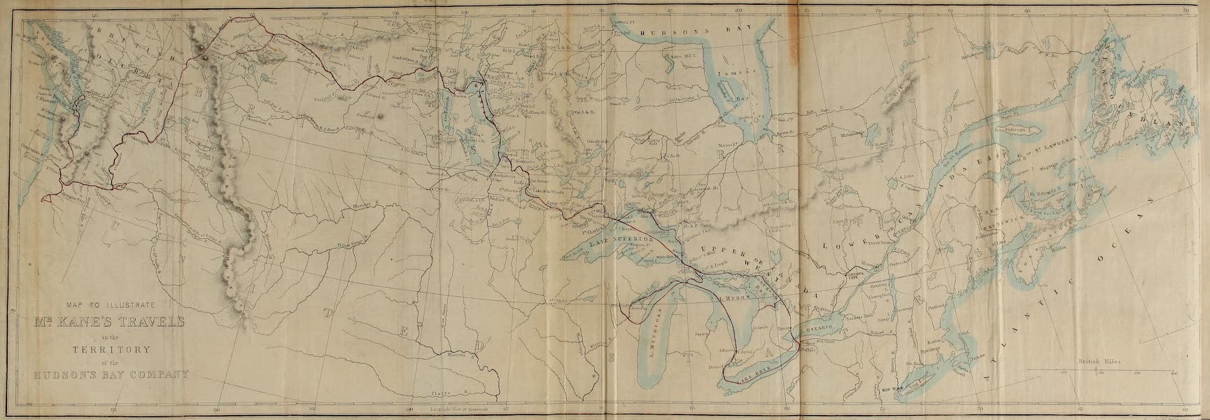 Wanderings of an Artist among the Indians of North America - Map to Illustrate Mr. Kane's Travels in the Territory of the Hudson's Bay Company (1859)