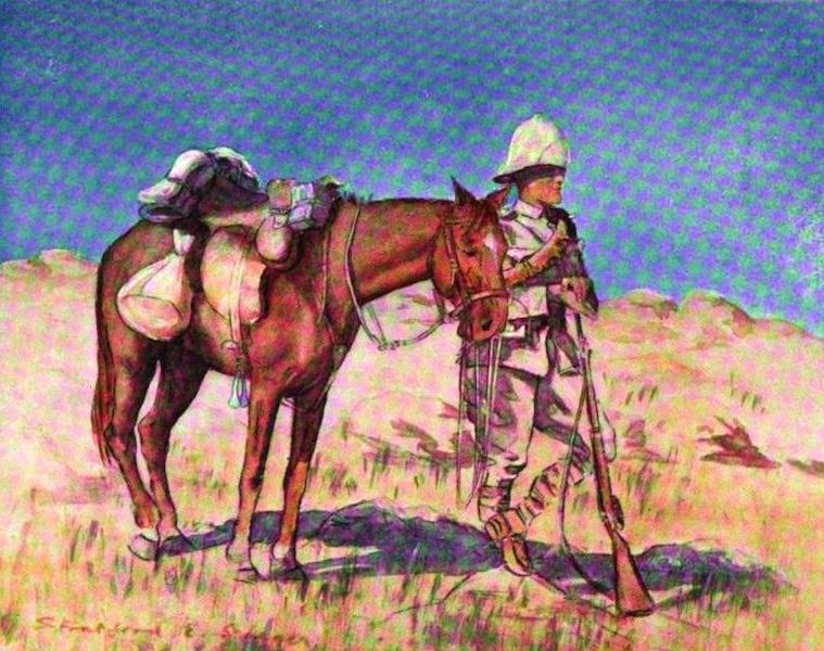 War Sketches in Colour - A Mounted Infantry Vedette (1903)