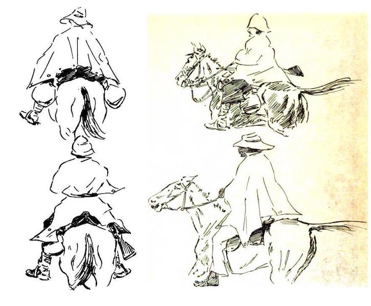War Sketches in Colour - Tommy's Use for the Waterproof Sheet (1903)