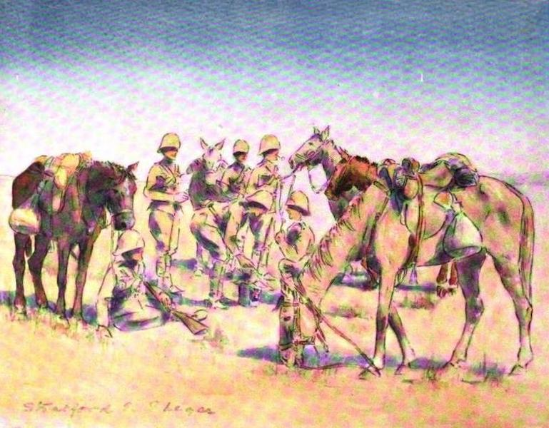 War Sketches in Colour - A Mounted Infantry Patrol - Dinner (1903)