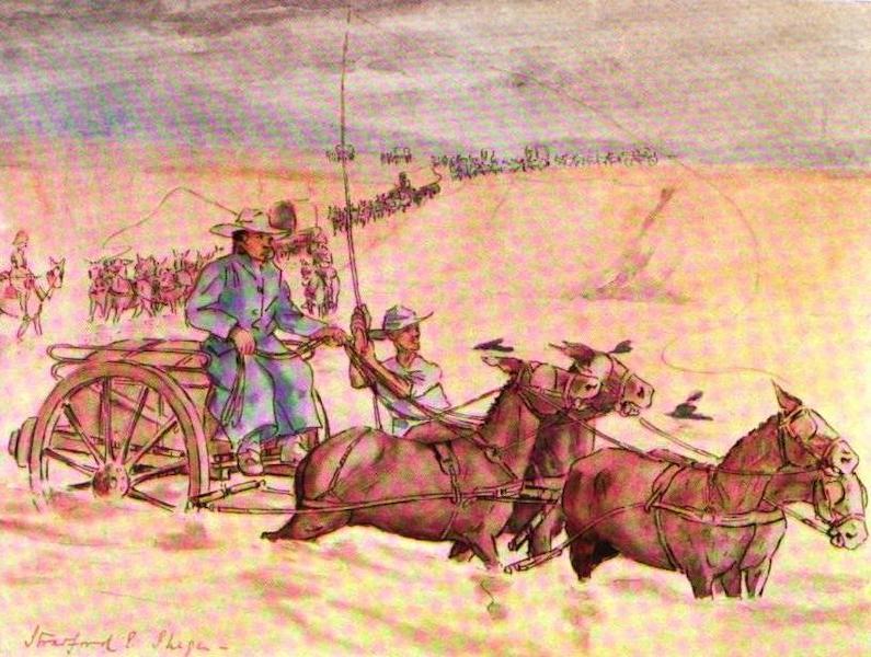 War Sketches in Colour - Transport crossing a Swollen Drift (1903)