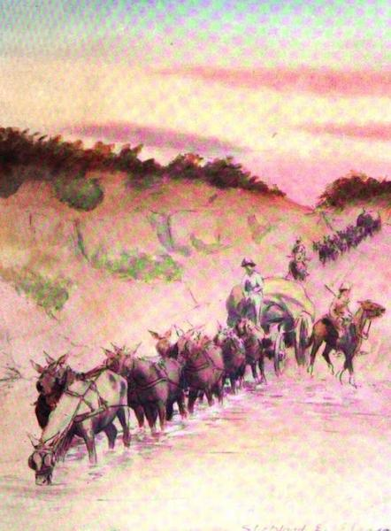 War Sketches in Colour - Mule Transport crossing a Drift (1903)
