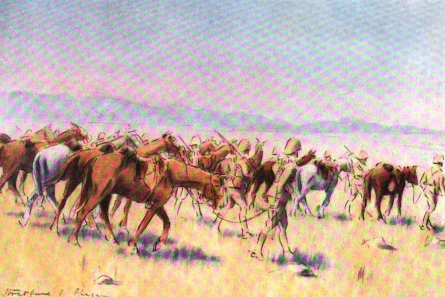 War Sketches in Colour - General French's First View of the Transvaal (1903)