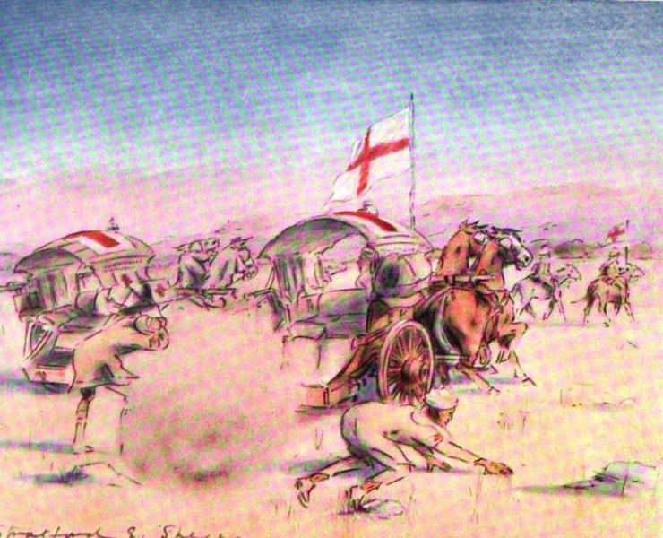 War Sketches in Colour - Shell falling among Tongas (1903)