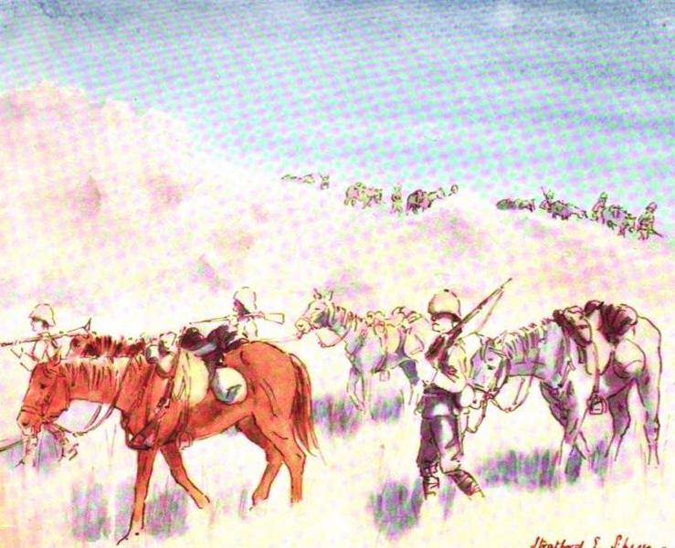 War Sketches in Colour - Mounted Infantry coming down the Witwatersrand (1903)