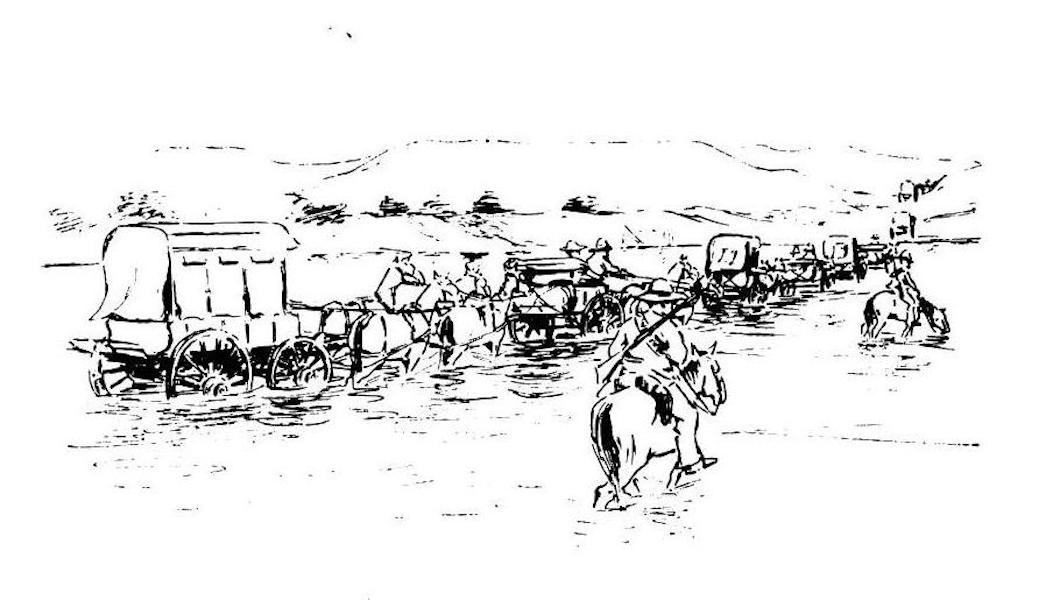 War Sketches in Colour - Boer Transport crossing a Drift (1903)
