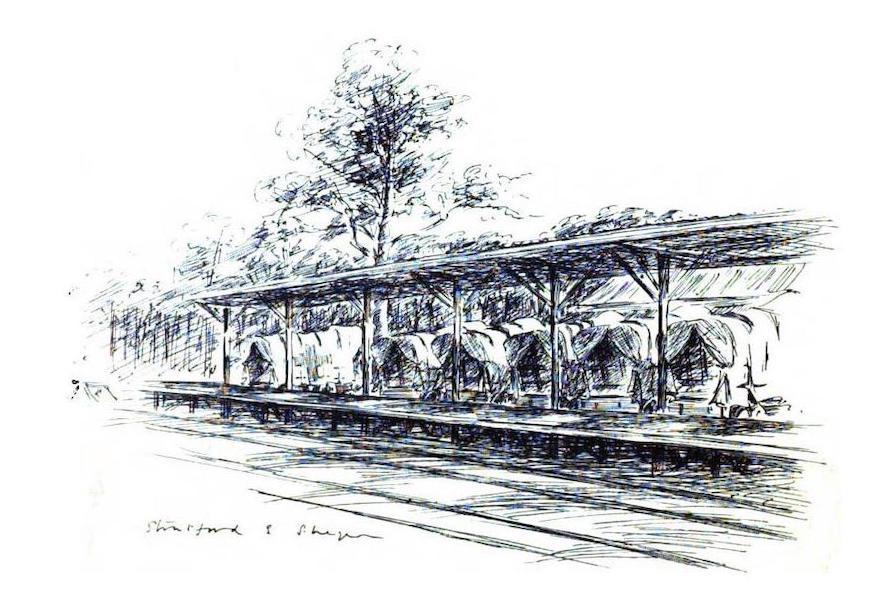 War Sketches in Colour - Ambulances at Wynberg Railway Station (1903)