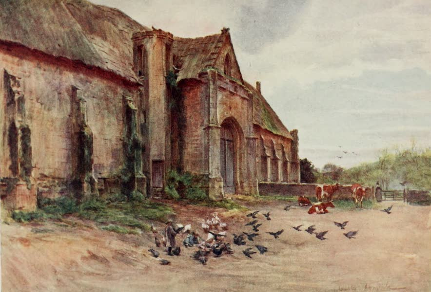 Wessex Painted and Described - A Tithe-Barn, Abbotsbury, near Weymouth. The scene of the sheep-shearing in Far from the Madding Crowd (1906)