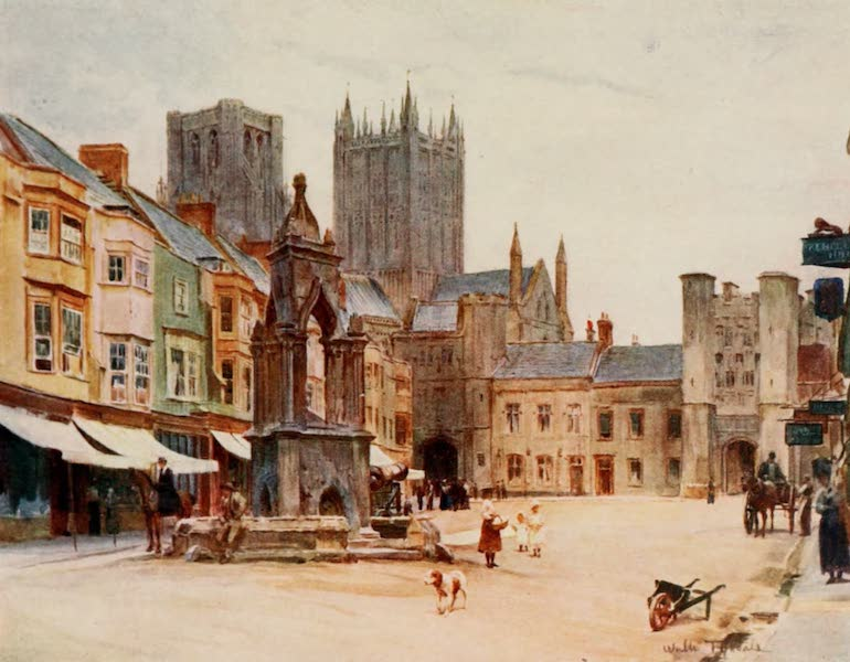 Wessex Painted and Described - The Market-Place, Wells (1906)