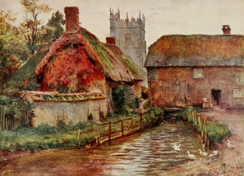 Wessex Painted and Described - The Mill and Church at Affpuddle, near Dorchester. The