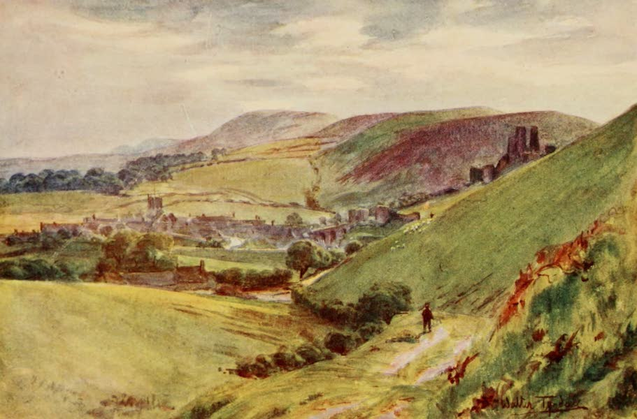 Wessex Painted and Described - Corfe Castle from Nine Barrow Down (1906)