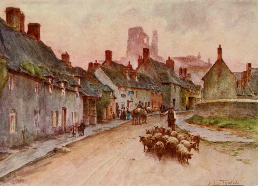 Wessex Painted and Described - Corfe Castle from West Street. A scene in The Hand of Ethelberta (1906)