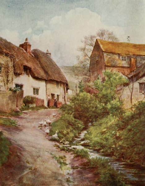 Wessex Painted and Described - The Mill Cottages at Sutton Poyntz, near Weymouth. The