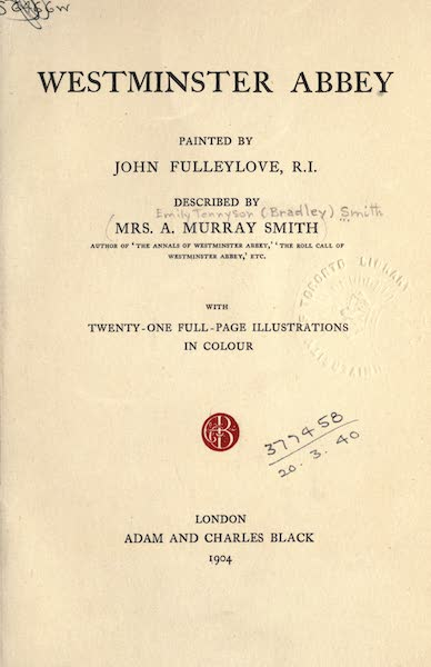 Westminster Abbey Painted and Described - Title Page (1904)