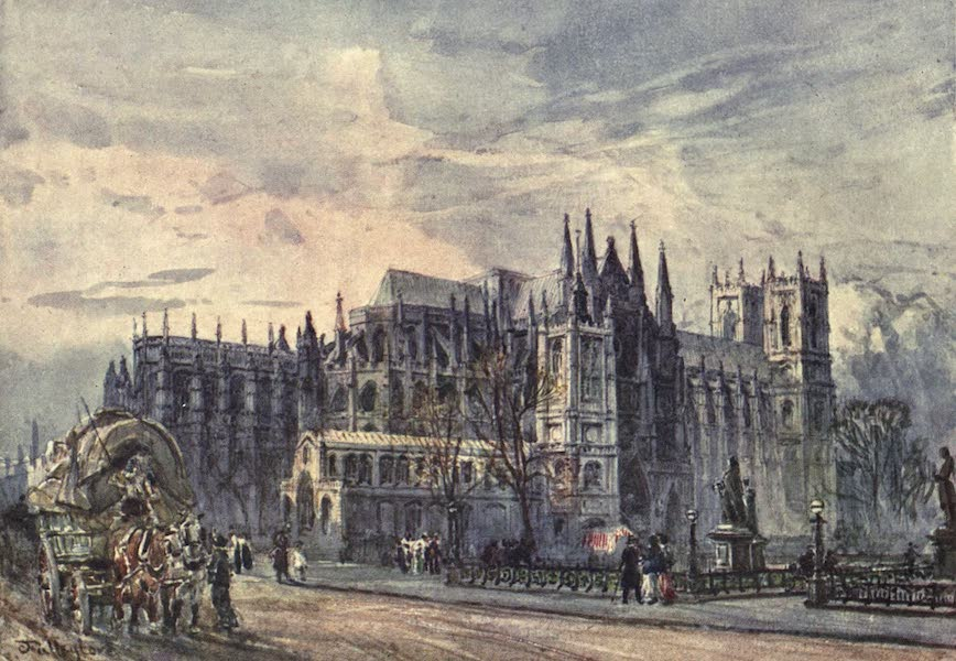 Westminster Abbey Painted and Described - View of the Abbey and St. Margaret's Church from Whitehall (1904)