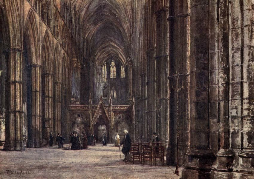 Westminster Abbey Painted and Described - The Interior of the Nave, looking East (1904)