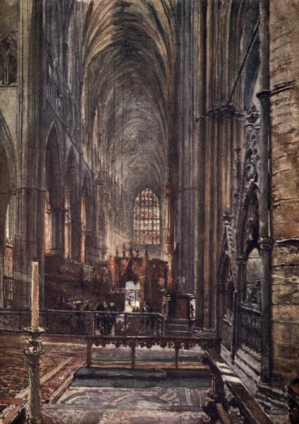 Westminster Abbey Painted and Described - View of the Choir and Nave, looking West from the High Altar (1904)