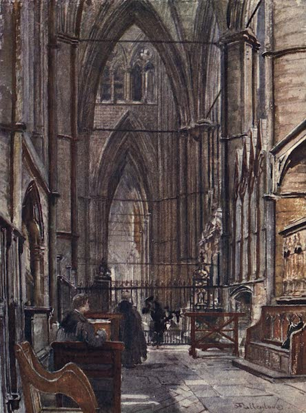 Westminster Abbey Painted and Described - The South Ambulatory, looking West down the South Choir Aisle (1904)