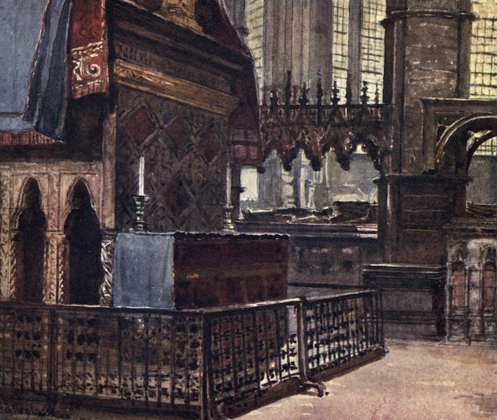 Westminster Abbey Painted and Described - The West End of the Confessor's Shrine, with the Modern Altar (1904)
