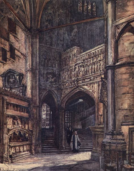 Westminster Abbey Painted and Described - The North Ambulatory, showing the Steps which lead up to Henry VII.'s Chapel (1904)