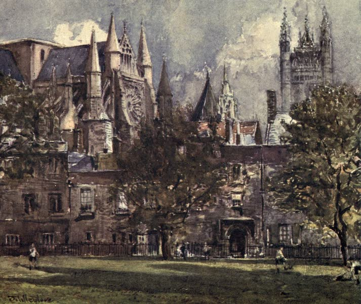 Westminster Abbey Painted and Described - The South Transept and Chapter House from Dean's Yard (1904)