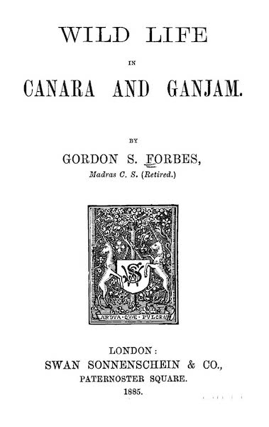 Wild life in Canara and Ganjam - Title Page (1885)