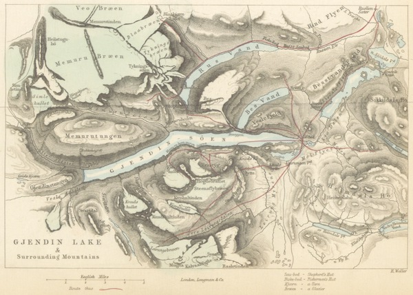 Wild Life on the Fjelds of Norway - Map of the Gjendin Lake and Surrounding Mountains (1861)