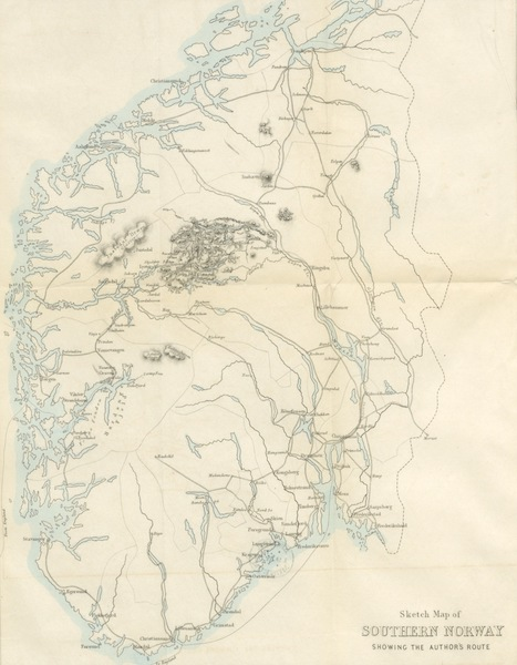 Wild Life on the Fjelds of Norway - Sketch Map of Southern Norway Showing the Author's Route (1861)