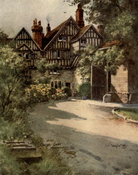 Winchester Painted and Described - Cheyney Court and Close Gate, Winchester (1910)