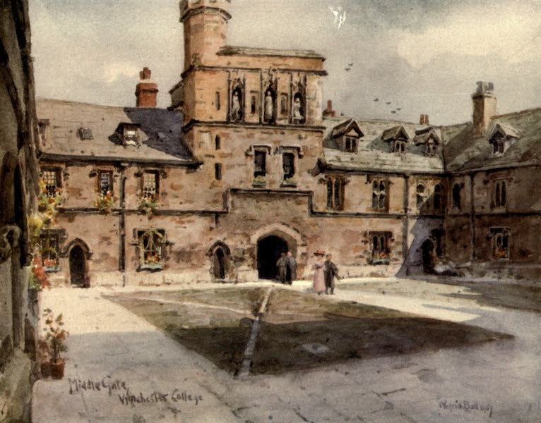 Winchester Painted and Described - Middle Gate, Winchester College (1910)