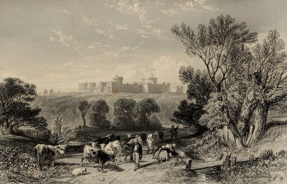 Windsor Castle, and Its Environs - Windsor Castle from the Road to Datchet (1808)
