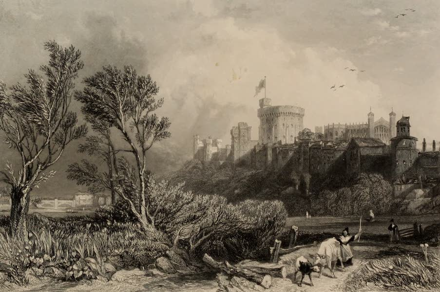 Windsor Castle, and Its Environs - Windsor Castle from the Clover Meadow (1808)