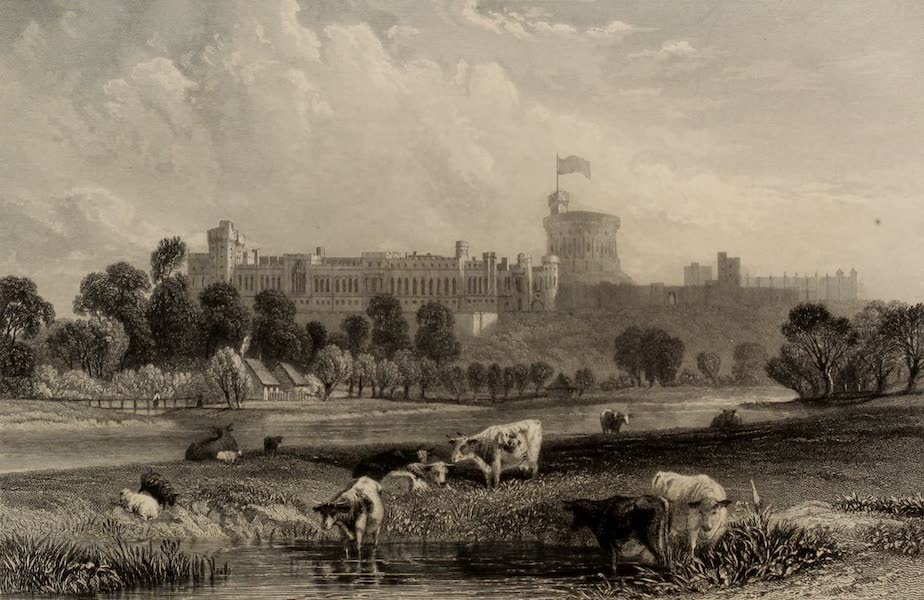 Windsor Castle, and Its Environs - Windsor Castle from the Eton Playing Fields (1808)