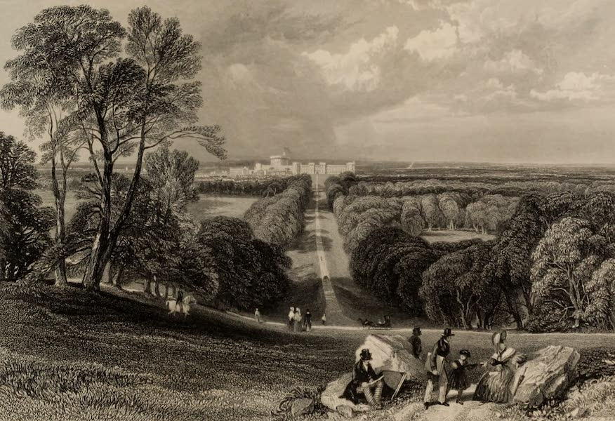 Windsor Castle, and Its Environs - Windsor Castle from the Long Walk (1808)