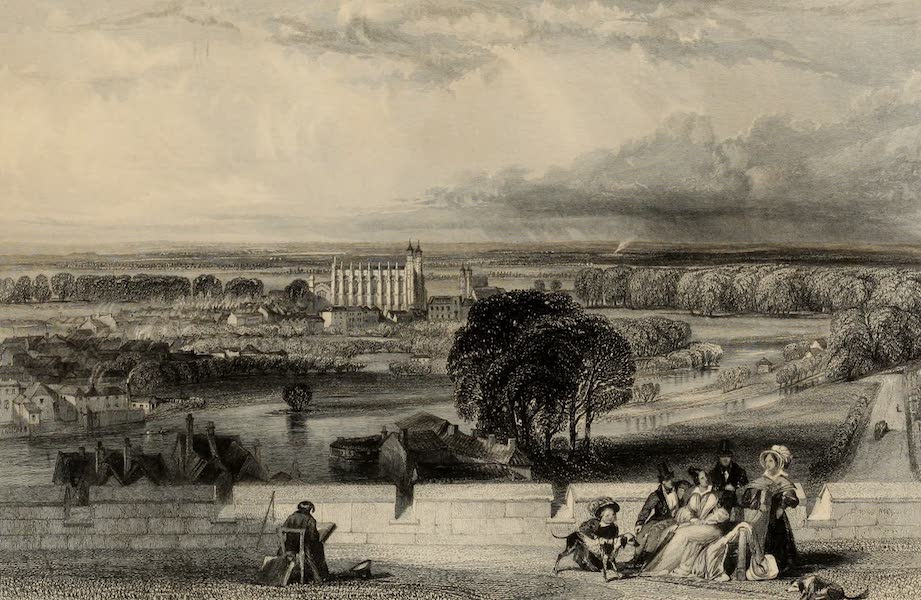 Windsor Castle, and Its Environs - Eton from Windsor Castle Terrace (1808)