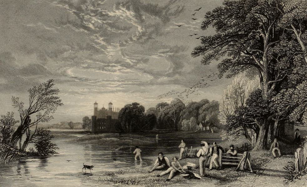 Windsor Castle, and Its Environs - Eton from the Playing Fields (1808)