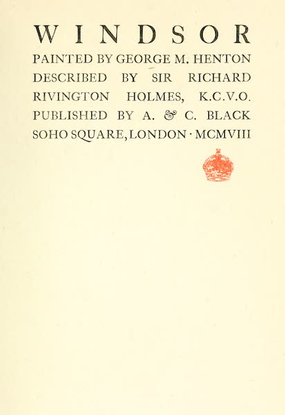 Windsor Painted and Described - Title Page (1908)
