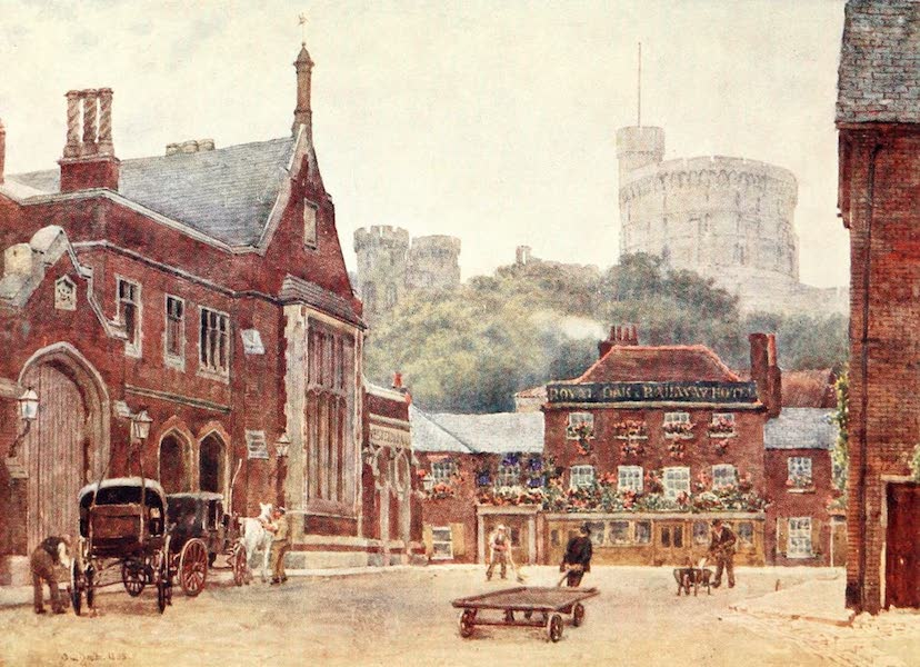 Windsor Painted and Described - The Round Tower and the South-Western Railway Station (1908)
