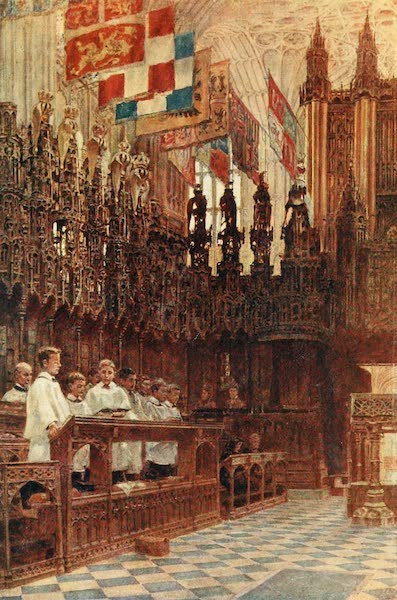 Windsor Painted and Described - St. George's Chapel : Evensong (1908)