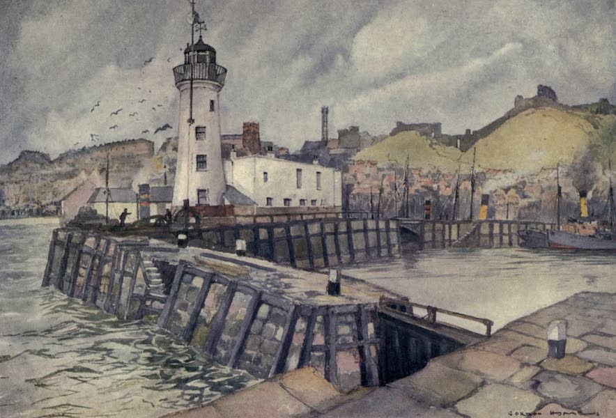 Yorkshire Coast and Moorland Scenes Painted and Described - Scarborough Harbour and Castle (1904)
