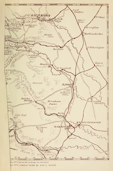 Yorkshire Dales and Fells Painted and Described - Map of Yorkshire (1906)