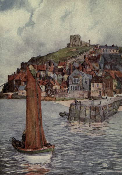 Yorkshire Painted and Described - Whitby Abbey from the Cliffs (1925)