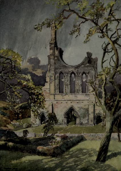 Yorkshire Painted and Described - The West Front of the Church Of Byland Abbey (1925)