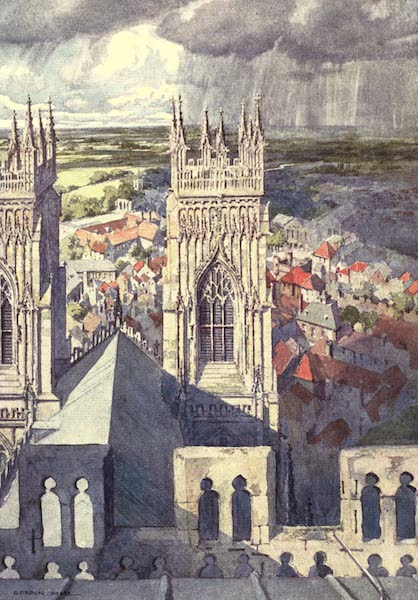 Yorkshire Vales and Wolds Painted and Described - York from the Central Tower of the Minster (the Western Towers in the Middle Distance) (1908)
