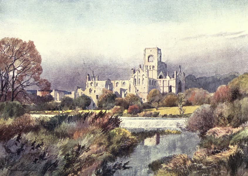 Yorkshire Vales and Wolds Painted and Described - Kirkstall Abbey, Leeds (1908)